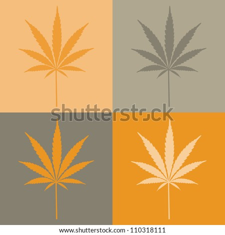 four cannabis leaf illustration