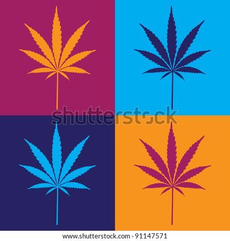 four cannabis leaf illustration in popart