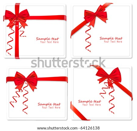 Four cards with ribbons. Vector.