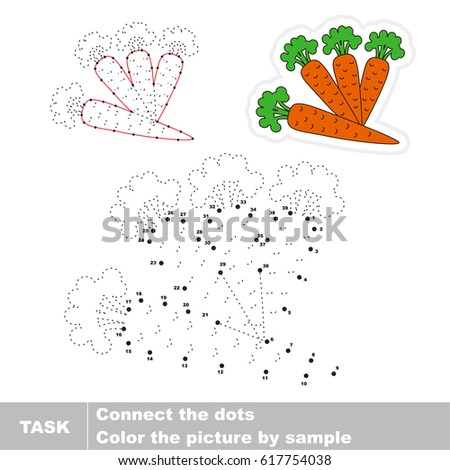 Four Carrots. Dot to dot educational game for kids.