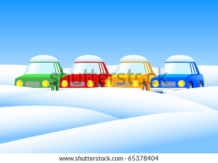 four cars in the snow