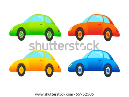 Four cars on a white background