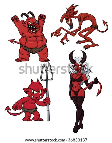 four cartoon demons all in