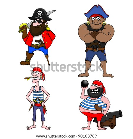 Four cartoon pirates on white background