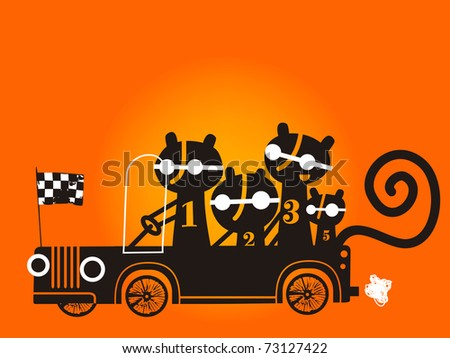 Four cats in a racing car