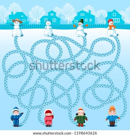four children make four snowmen