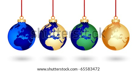 four christmas balls with a world map covered