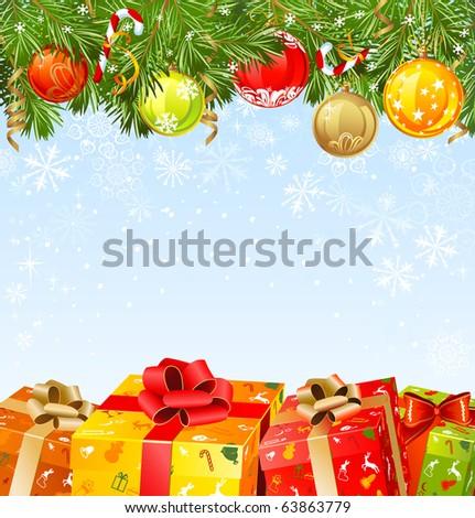 four  Christmas gifts under a fir-tree - stock vector