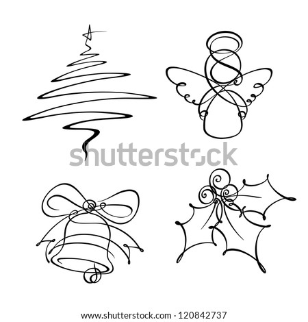 four christmas single line icons