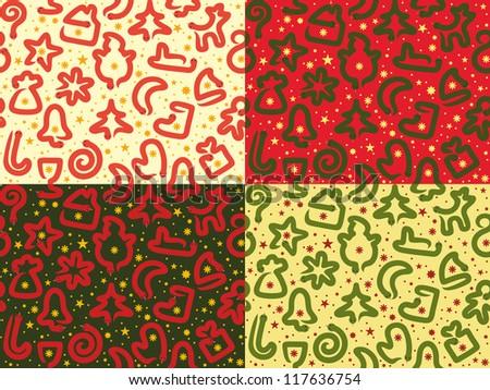 Four Christmas Snakes Seamless Patterns