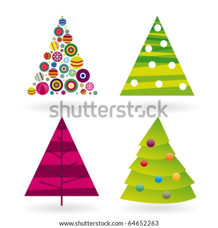 Four Christmas tree in vector and retro illustration