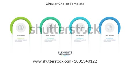 Four circular elements placed in horizontal row. Concept of 4 steps of startup project development. Flat infographic design template. Simple vector illustration for business data visualization. Stockfoto ©