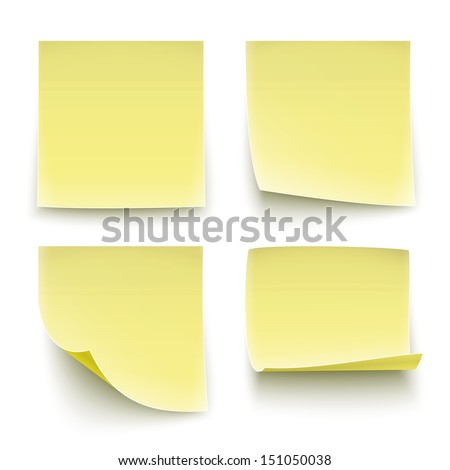 Four classic yellow paper stickers, twisted on different degree. Vector illustration. EPS10.