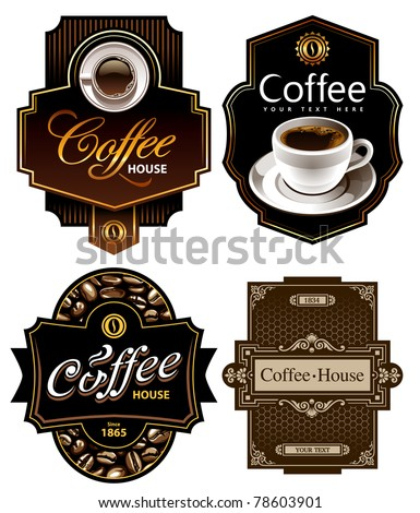 Four coffee design templates. Vector banners. All elements are grouped.