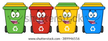 four color recycle bins cartoon