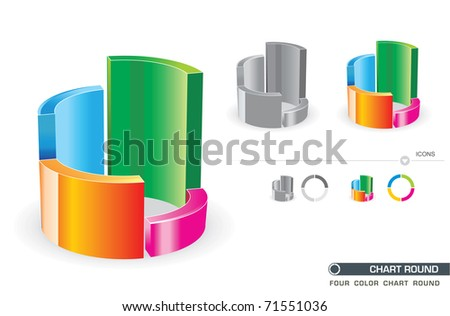 Four Color Vector Chart Round
