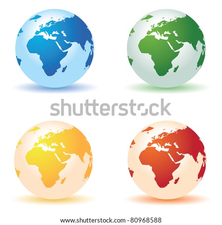 four colored globes