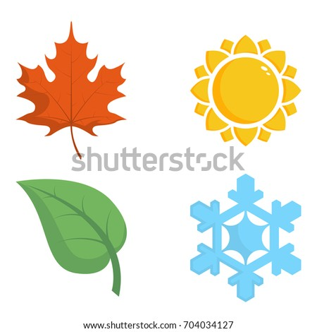 Four colored icons with seasons.