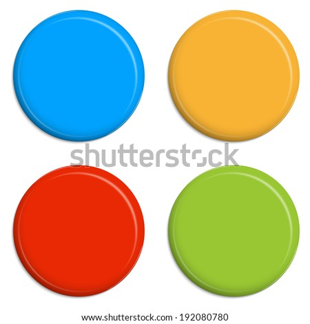 four colored Magnets Buttons