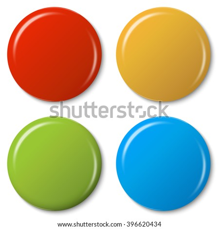 four colored magnets with shadow and light reflex