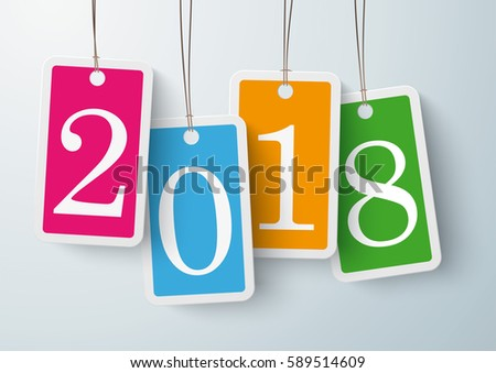 Four colored price stickers with date 2018 on the gray background. Eps 10 vector file.