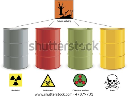 four colored steel barrels with hazard signs
