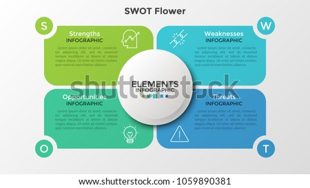 Four colorful elements with linear icons and place for text inside placed around circle. Concept of SWOT-analysis or strategic planning technique. Infographic design template. Vector illustration.