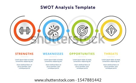 Four colorful elements with text inside placed around circle. Concept of SWOT-analysis template or strategic planning technique. Infographic design template. Vector illustration. Сток-фото ©