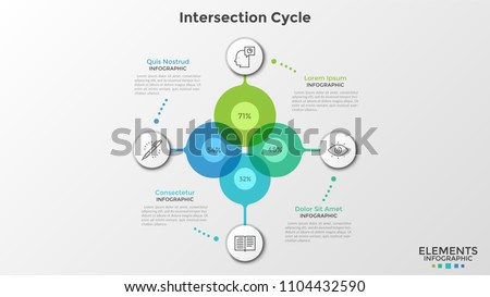 Four colorful intersected translucent circles with percent indication inside connected to circular paper white elements with thin line symbols. Infographic design template. Vector illustration.