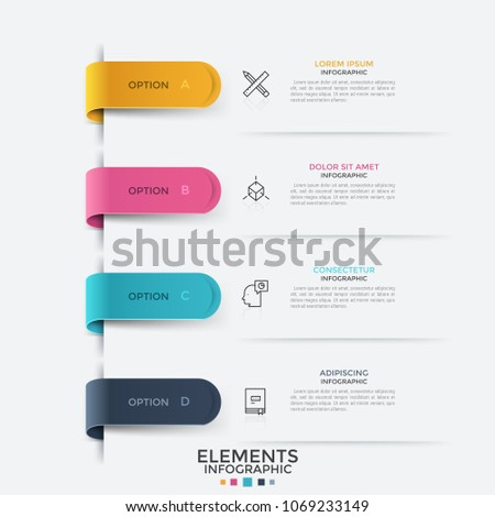 Four colorful tape-like bookmarks, thin line symbols and text boxes placed. Concept of web menu with 4 options to choose. Bright colored infographic design template. Vector illustration for website.