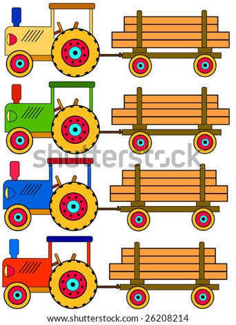 Four colorful toy tractors with a trailer
