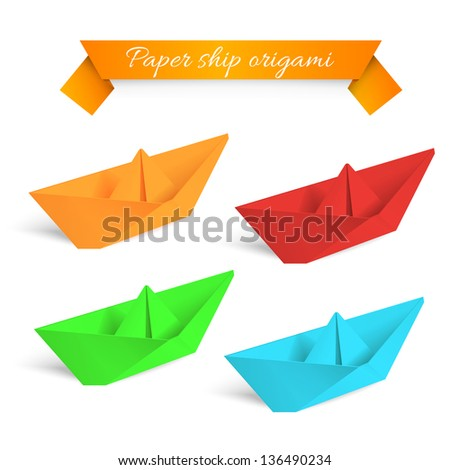Four colorfull paper ships origami. Vector illustration.