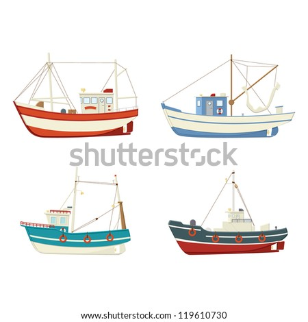 four colourful vector fishing