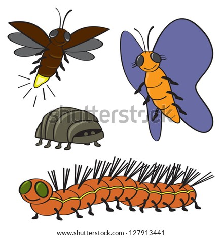 Four Common Backyard Garden Bugs Drawn In A Cartoon Style ...