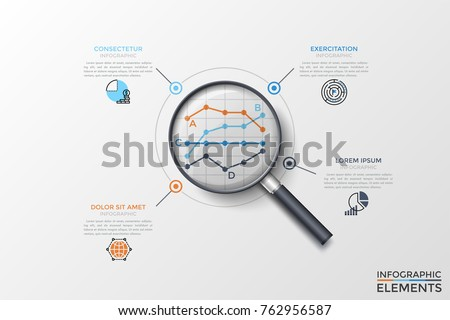 Four compared linear diagrams or graphs seen through magnifier, thin line symbols and text boxes. Concept of statistical analysis and comparison. Vector illustration for presentation, brochure.