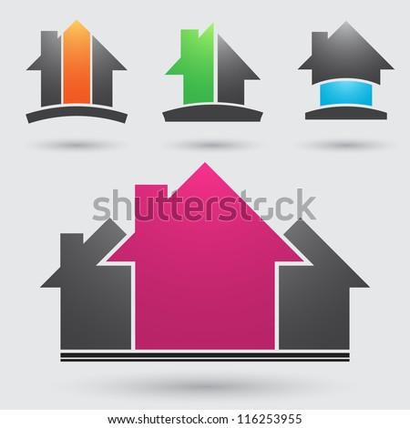 Four construction company symbols different colors