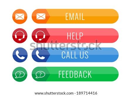 four contact buttons in flat style isolated on white background, vector illustration, eps 10, with transparency