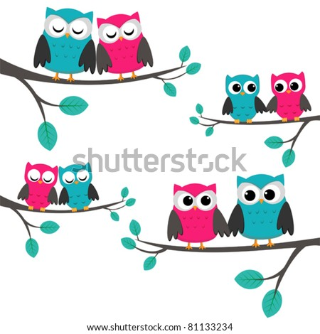 stock vector Four couples of owls sitting on branches