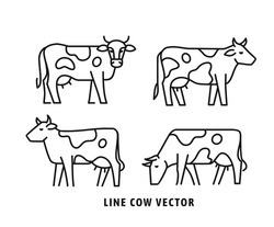 Four Cow linear style icon