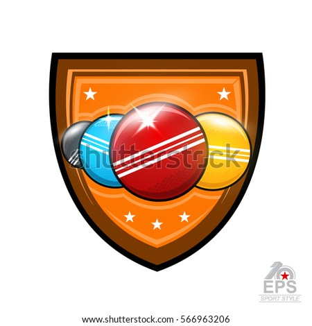 Four croquet balls in center of shield isolated on white. Sport logo for any team or championship