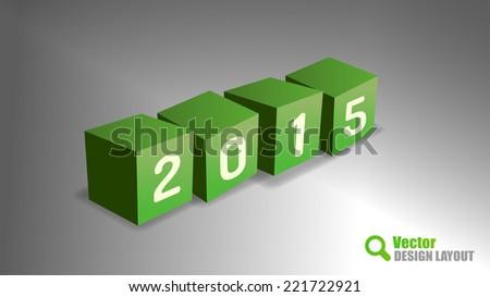 Four cubes as 2015 playful symbols. Vector design elements.
