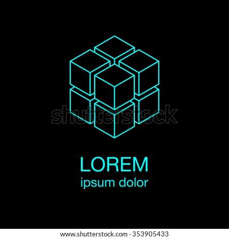 four cubes simple logo concept
