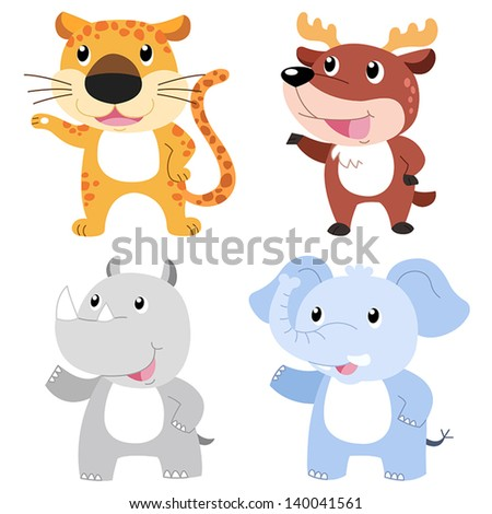 four cute animals with white background.