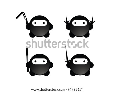 Four Cute Black Ninjas with Weapons.