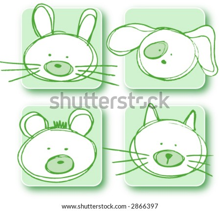 stock vector : four cute cartoon animals for baby and children