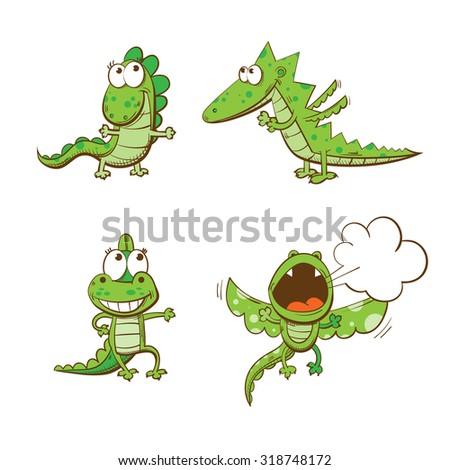 four cute cartoon dragons
