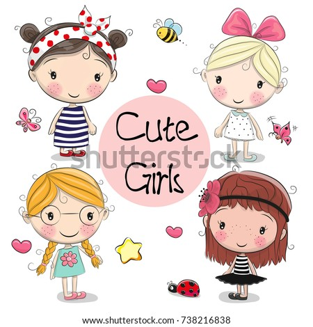 four cute cartoon girls on a