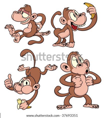 Four cute cartoon monkeys. All in separate layers for easy editing.