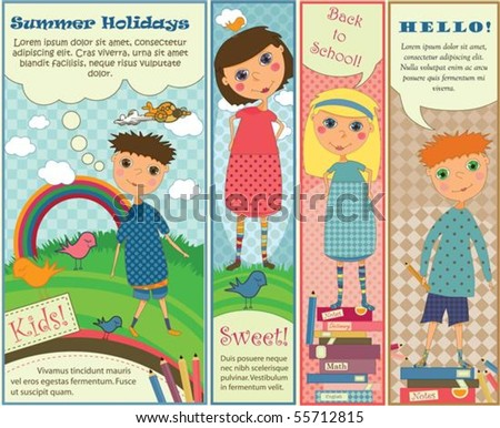 Four cute colorful banners with kids playing outside or getting ready for school.