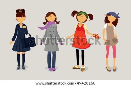 four cute girls in stylish